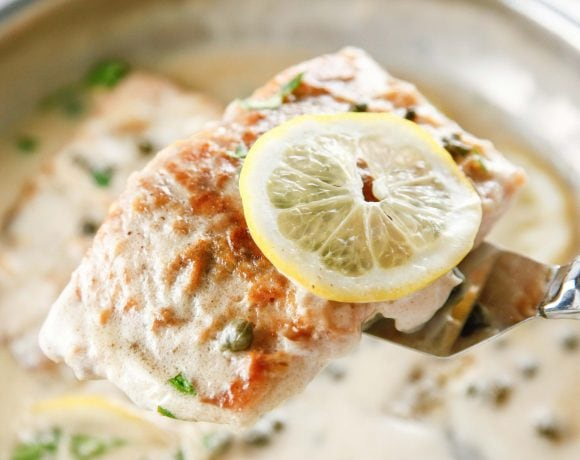 a closeup of Easy Salmon Piccata