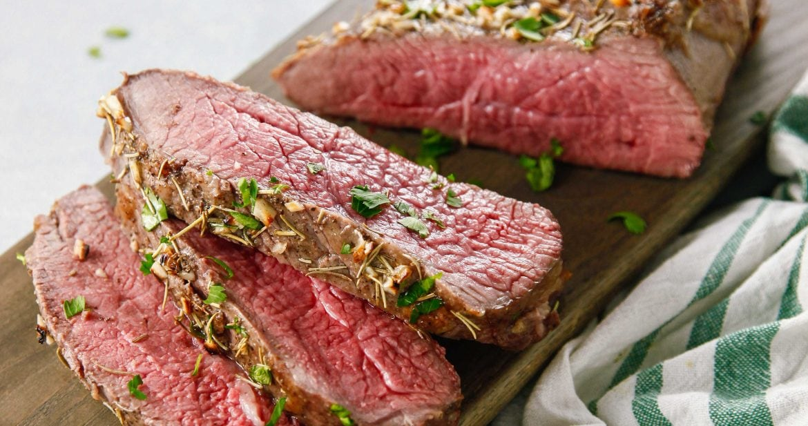 Sliced Oven Baked Garlic Rosemary London Broil
