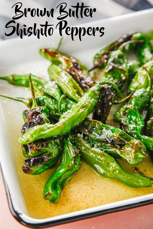 Need a new kind of healthy appetizer? These Blistered Brown Butter Shishito Peppers are ready in 10 minutes and couldn't be better!