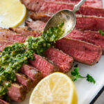 pinterest image for Broiled Flank Steak with Chimichurri