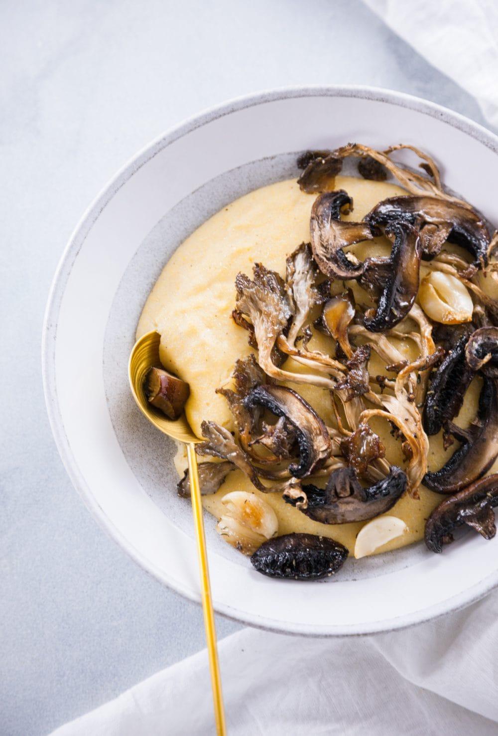 Roasted Mushrooms and Creamy Polenta