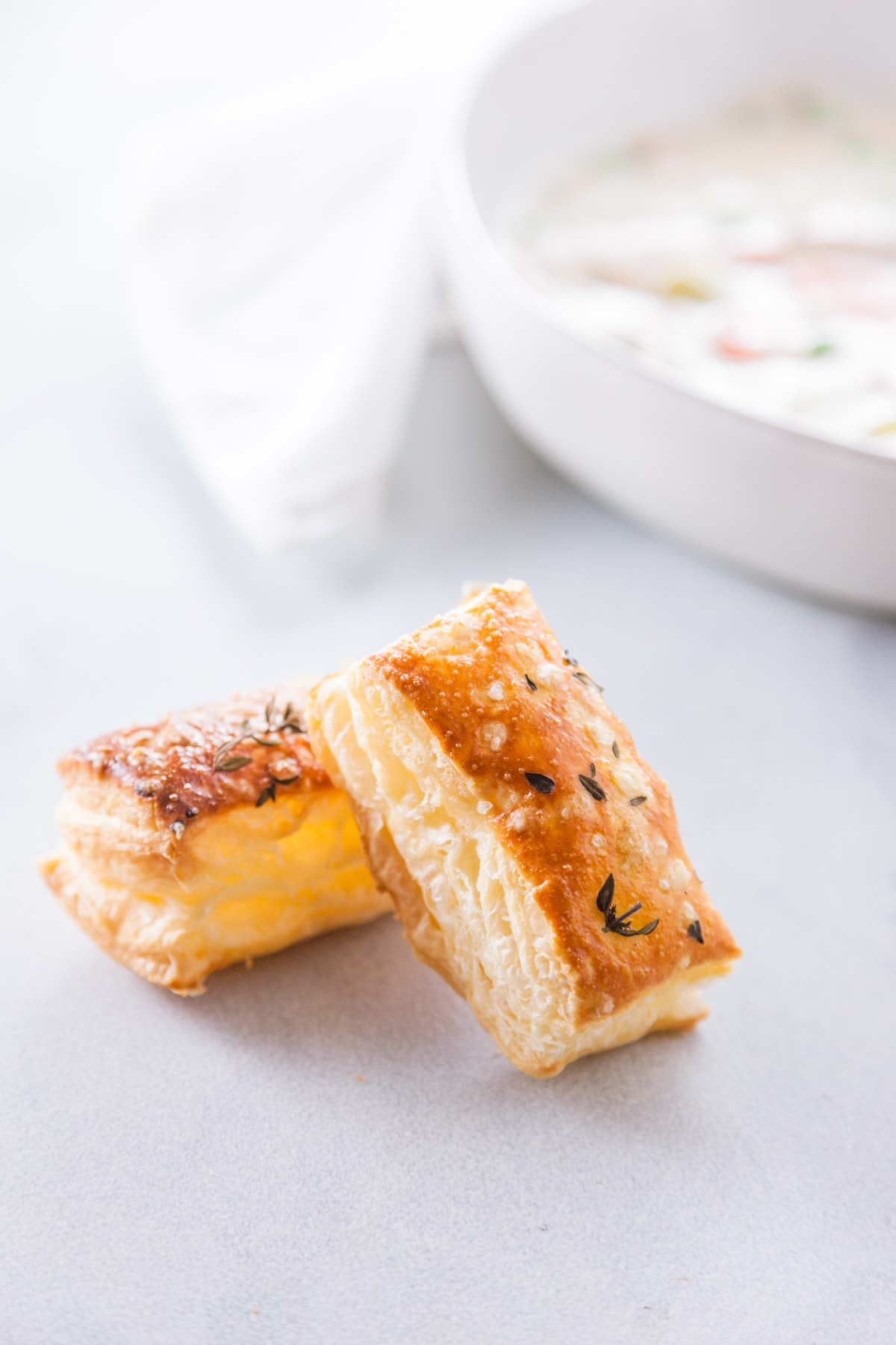 seasoned puff pastry crust croutons.