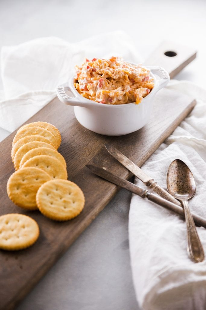 Classic Pimento Cheese Dip with crackers.
