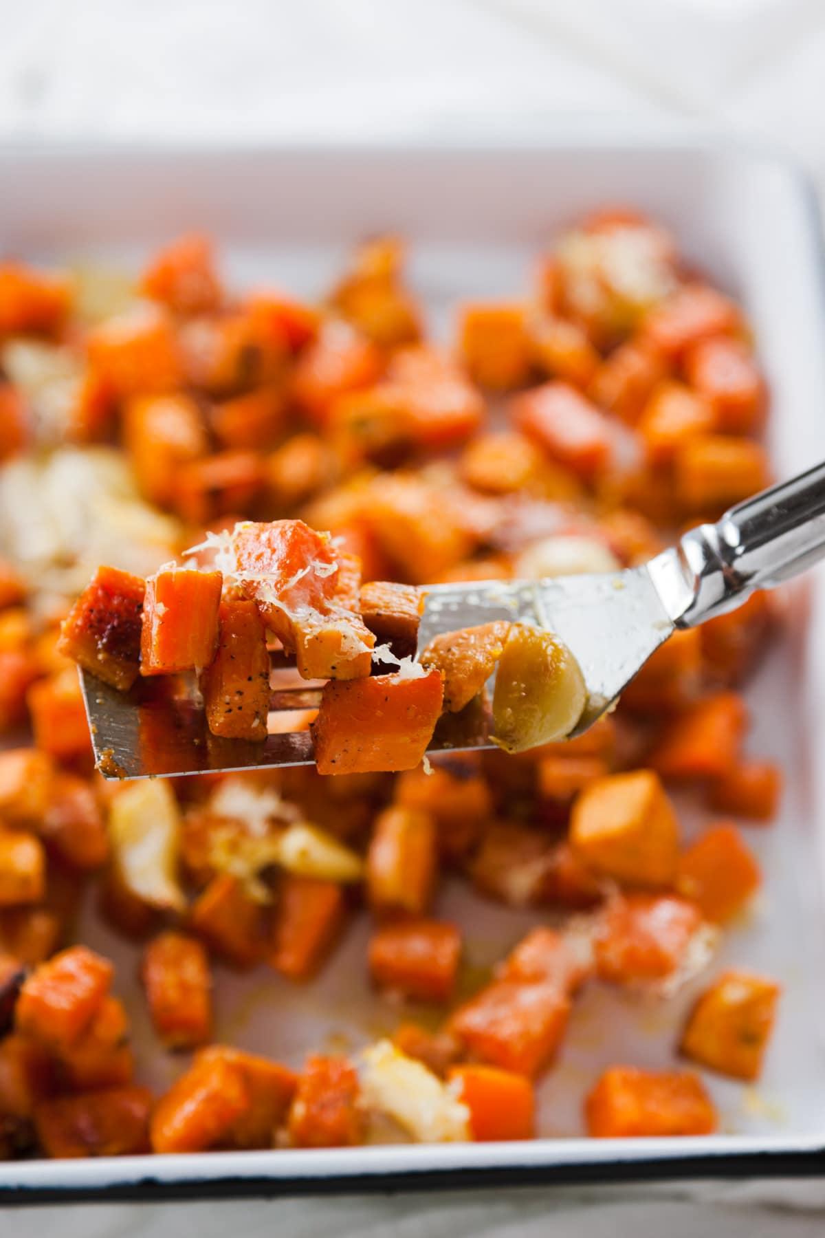 Garlic Parmesan Roasted Sweet Potato