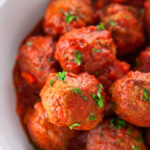 Italian Meatballs with Red Sauce pinterest image