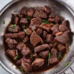pinterest image for Rosemary Balsamic Steak Tips
