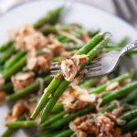 Green Beans Amandine detail in fork