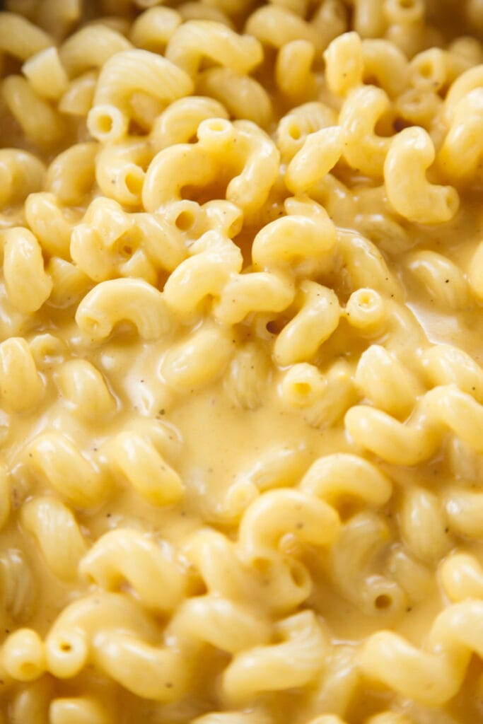 Homemade Mac and Cheese close up detail.