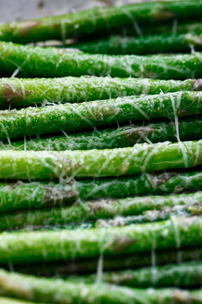 a detail shot of Brown Butter Parmesan Asparagus.