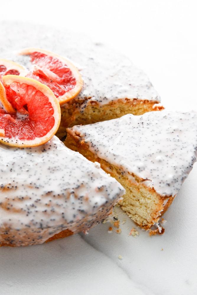 a slice of Grapefruit Poppy Seed Cake.