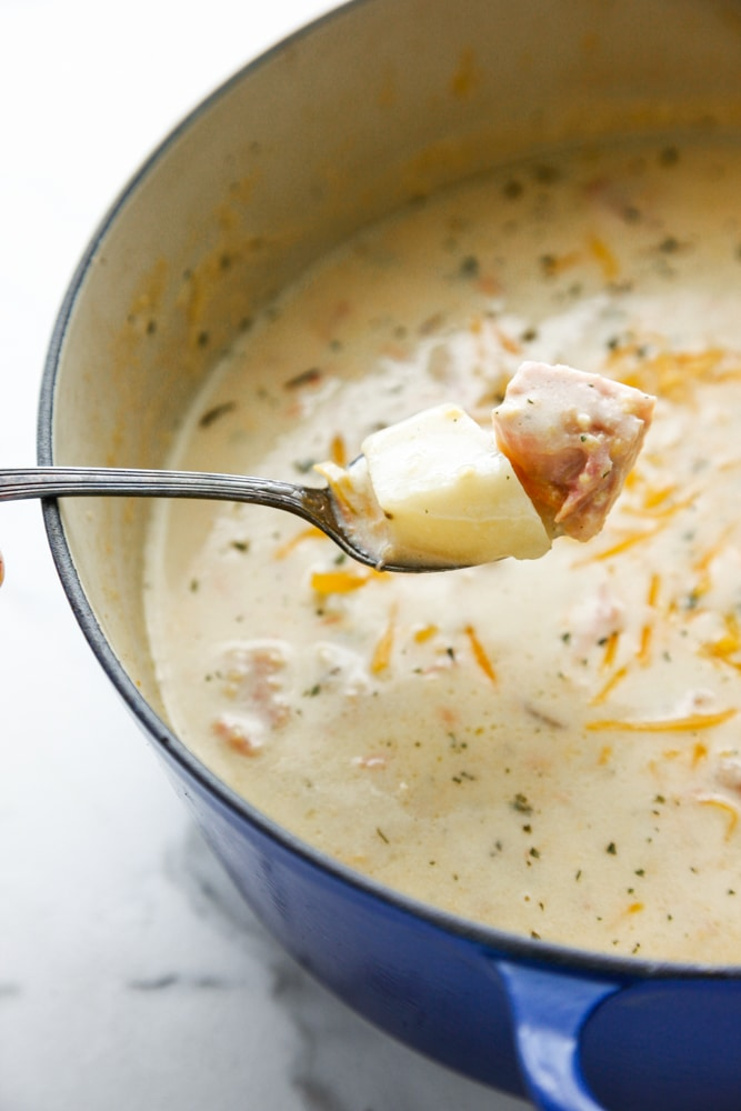 a spoonful of Creamy Cheesy Ham and Potato Soup in a blue dutch oven.