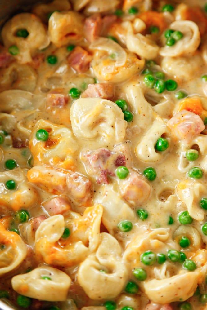 Cheesy Ham and Peas Tortellini detail shot.