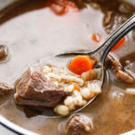 Pinterest image for beef and barley soup.