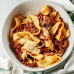 pinterest image for shredded beef ragu and pappardelle.
