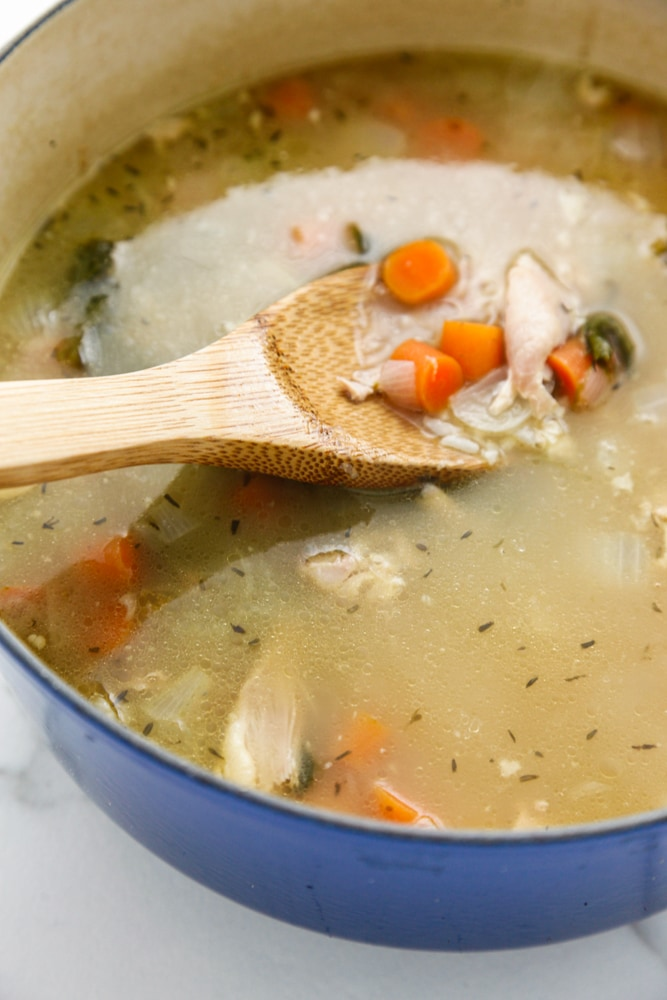 Turkey and Rice Soup in a dutch oven.