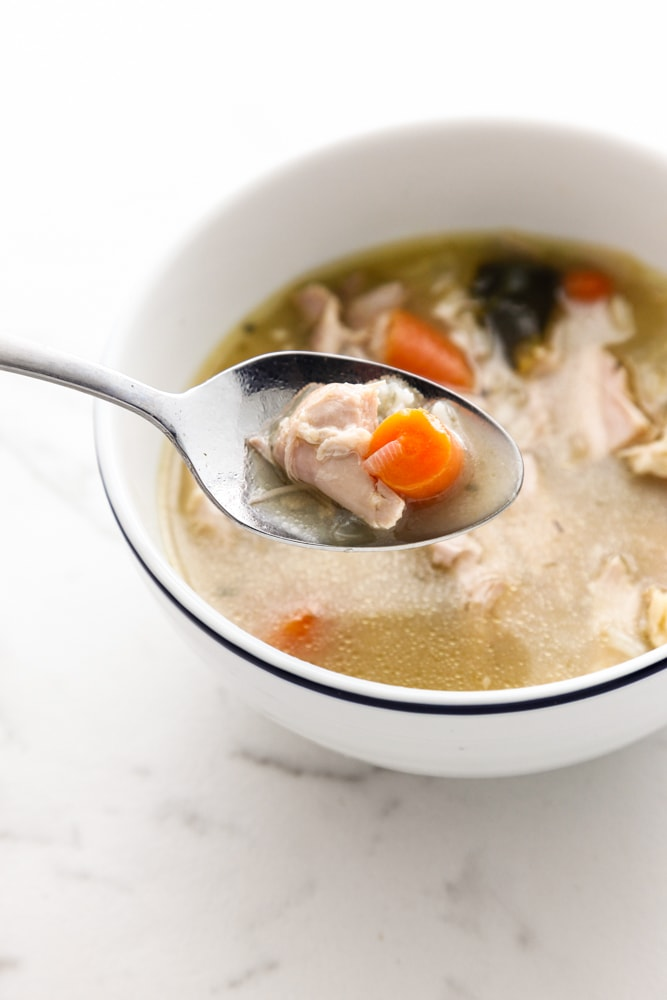 a spoonful of Turkey and Rice Soup.