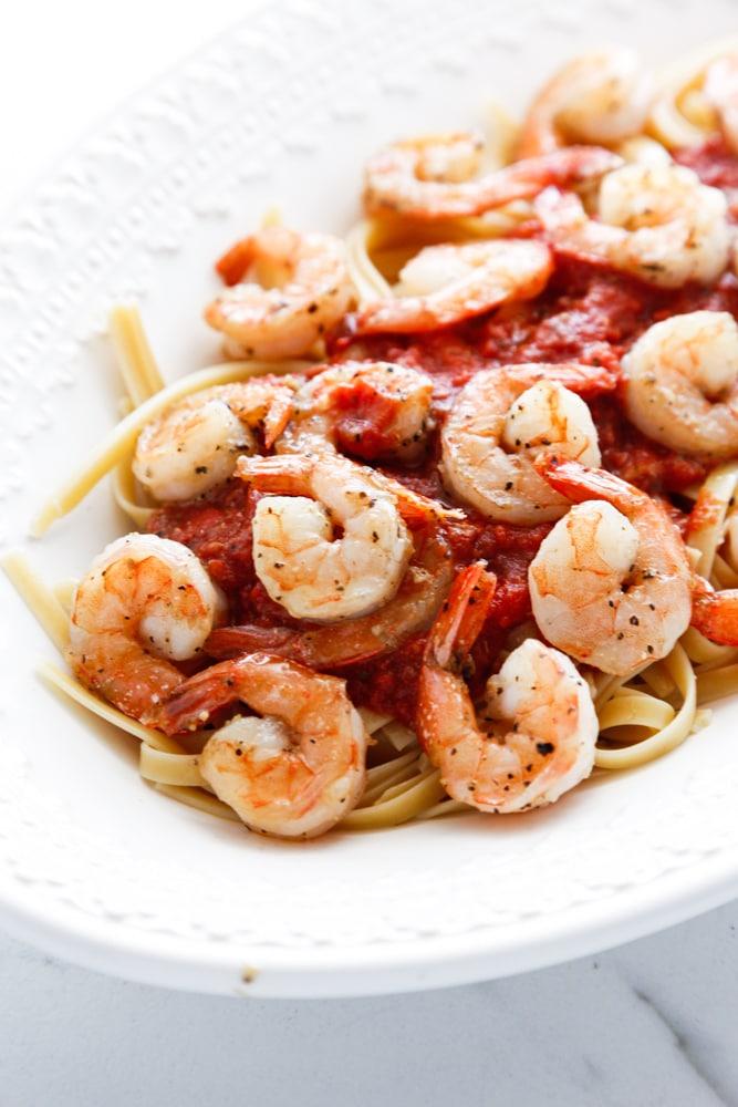 a detail shot of Spicy Shrimp Fra Diavolo.