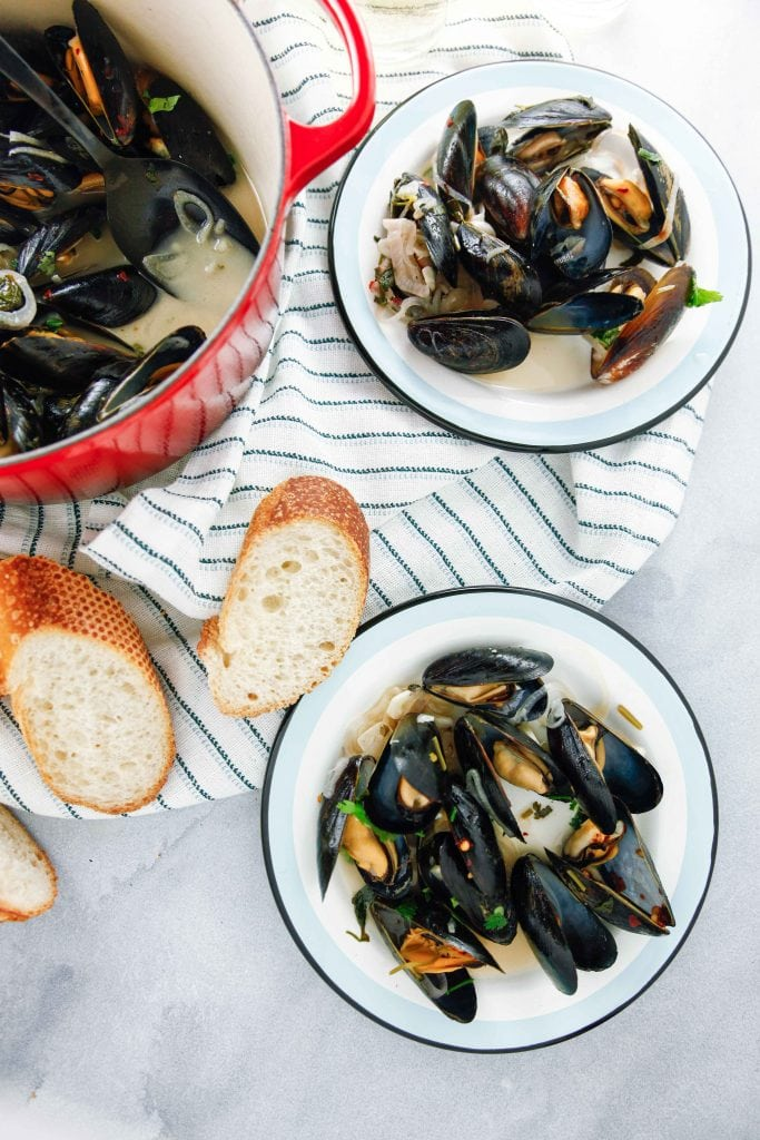 Steamed Mussels in White Wine overhead shot.