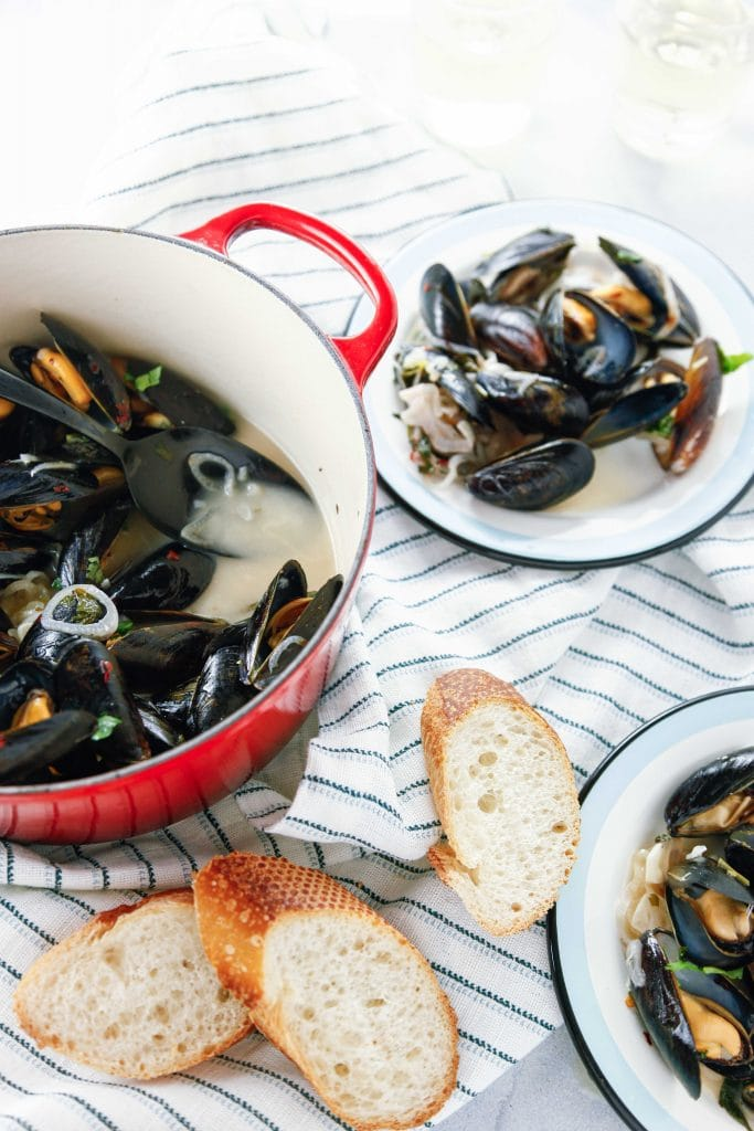 Bowls of Steamed Mussels in White Wine.