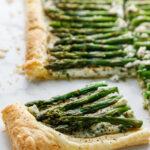 pinterest image for asparagus tart.