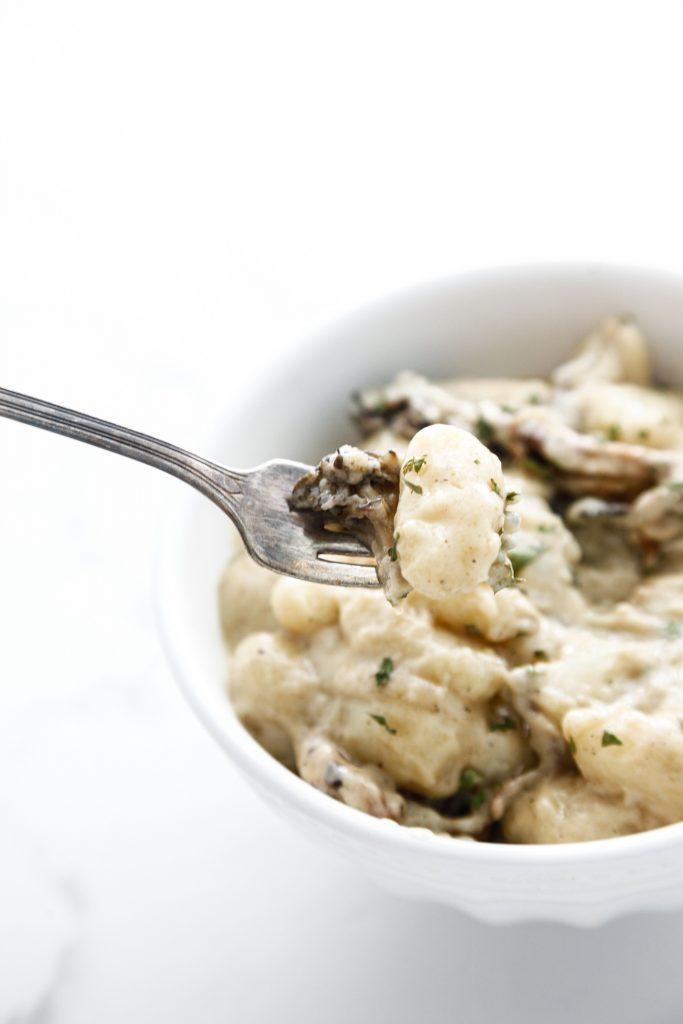 a forkful of Roasted Mushroom Gnocchi.