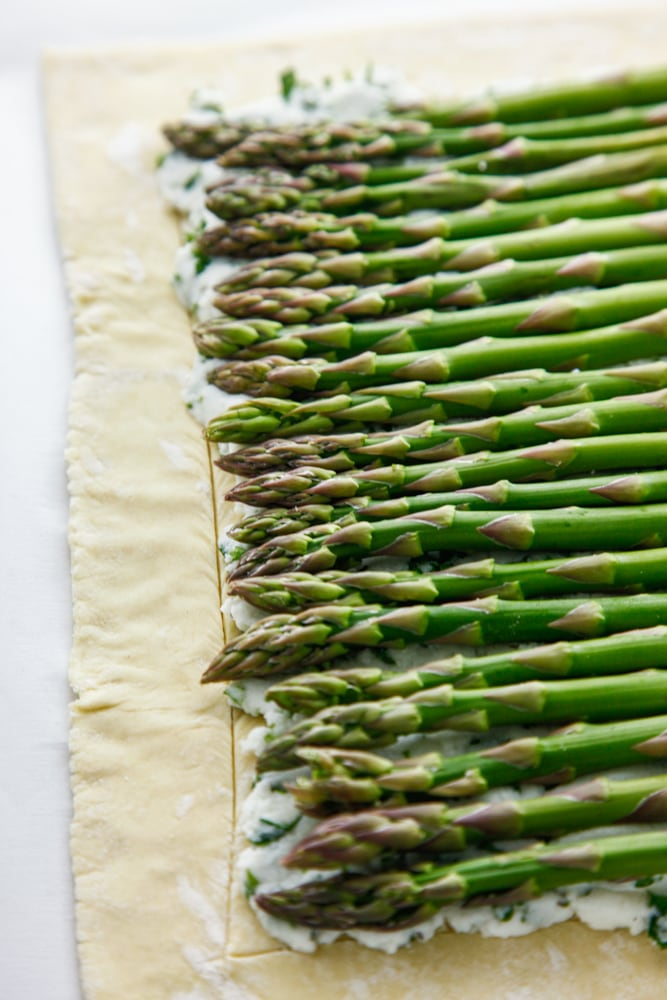 Herbed Ricotta & Asparagus Tart being made.