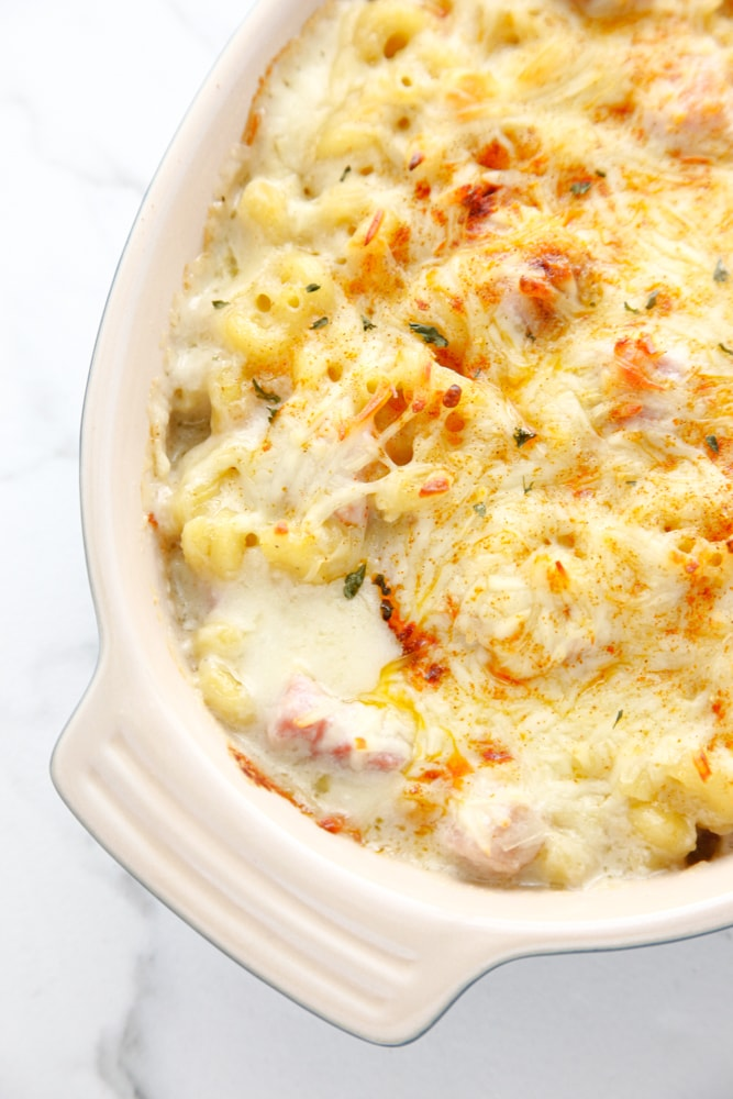 Detail shot of Easy Ham Mac and Cheese in a baking dish.
