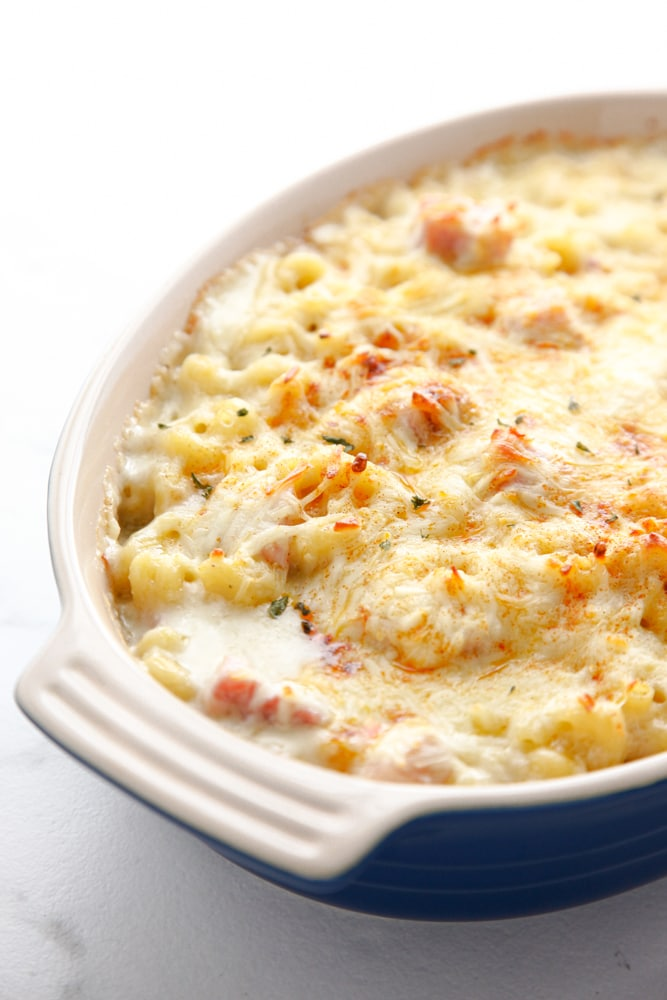 Easy Ham Mac and Cheese in a blue baking dish.