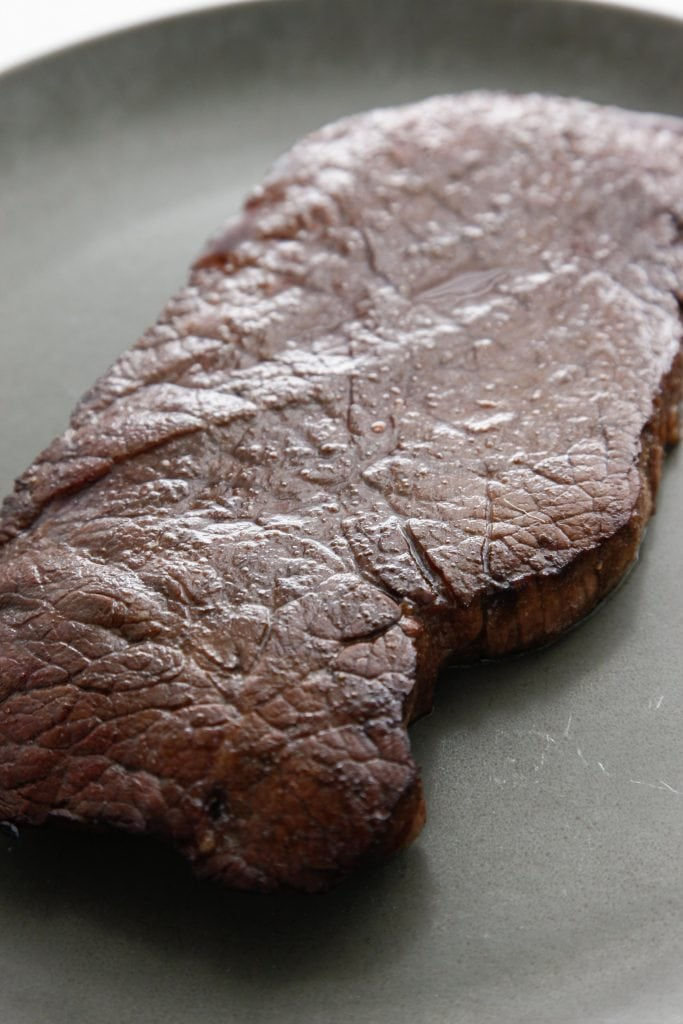 Balsamic Glazed London Broil after coming out of the oven.