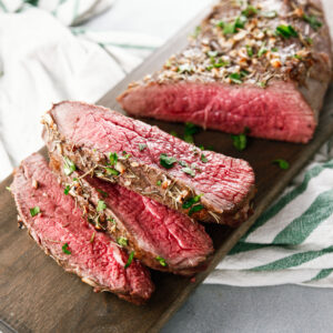 category image for dinners, featured is garlic rosemary london broil